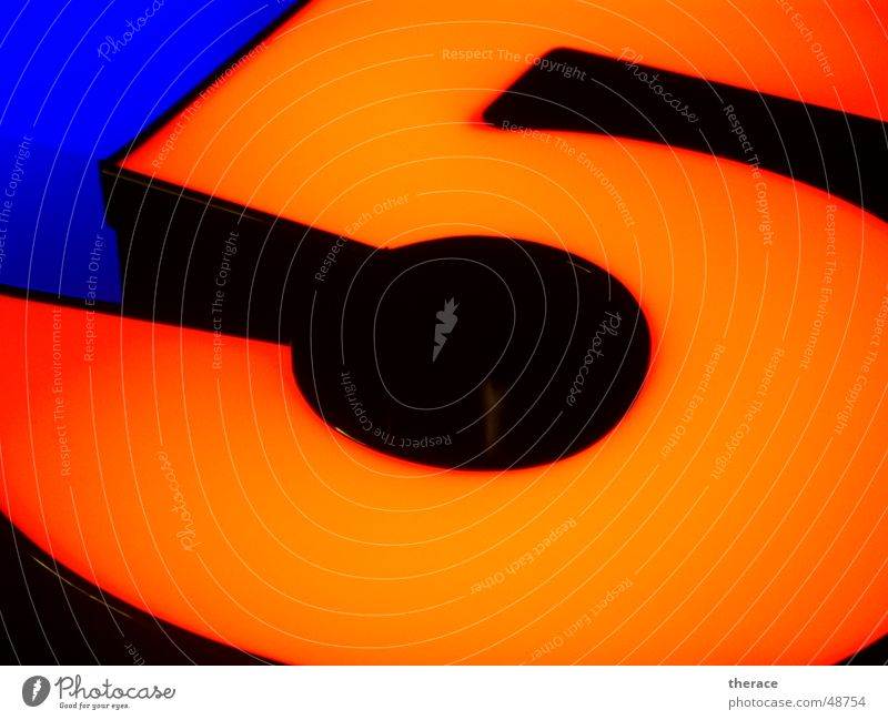 Blue Black Lamp Orange Characters Digits and numbers Mirror 5 Advertising Typography Neon light Frame Overlapping edge band