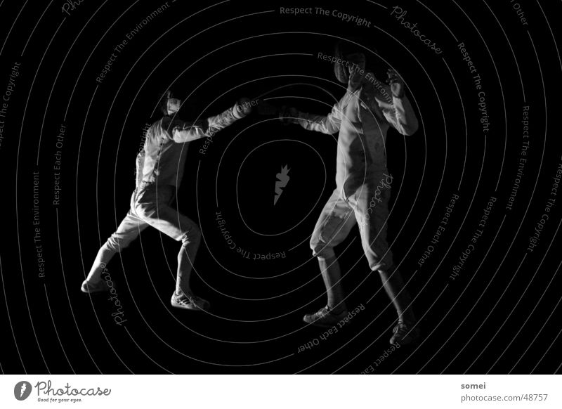 hit Fencing Dark Light Martial arts Fighter Protective clothing Weapon Sword Breakdown Sporting event Black & white photo Contrast Sports Sportsperson