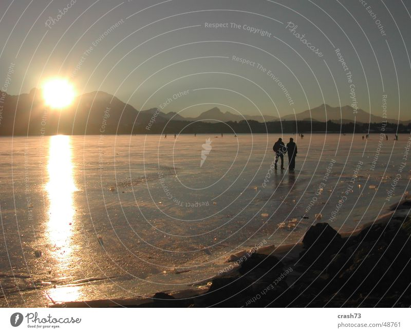 Lake Hopfen Winter Human being Allgäu Sunset Cold Ice Mountain