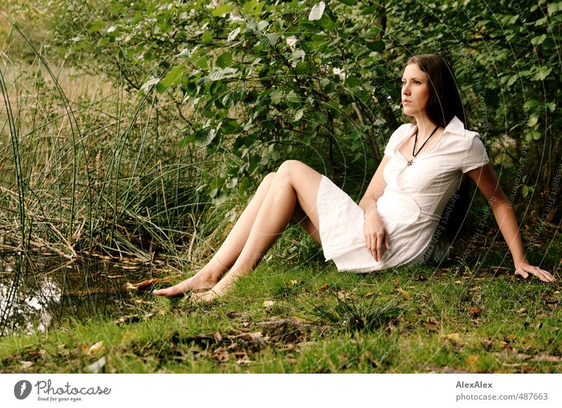 White-tailed Coquette Trip Adventure Young woman Youth (Young adults) Legs Feet Barefoot 18 - 30 years Adults Nature Grass Bushes Moss Forest Lake Dress