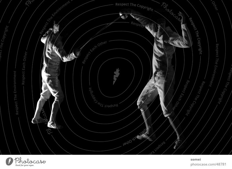 defense Fencing Dark Light Martial arts Fighter Protective clothing Weapon Sword Breakdown Sporting event Black & white photo Contrast Sports Sportsperson