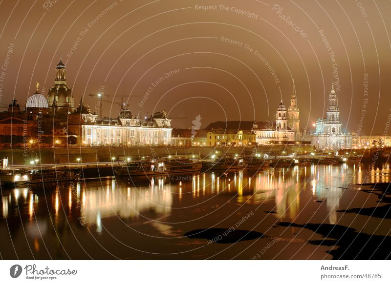 City Winter Dark Cold Culture Dresden Historic Elbe Saxony Old town Night shot World heritage Semper Opera Steamer Frauenkirche Elbufer