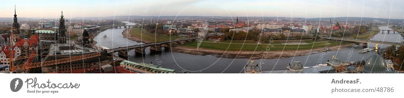 City Germany Horizon Vantage point Large Bridge Historic Panorama (Format) Old town Dresden Saxony Elbe Renewal Frauenkirche Semper Opera Hofkirche
