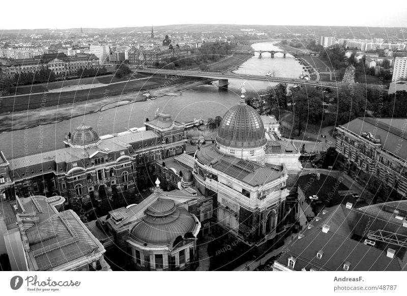 View over Dresden Carola bridge Albertinum Panorama (View) Saxony Vantage point Augustusbrücke Renewal Historic Horizon Town Zwinger Hofkirche Semper Opera