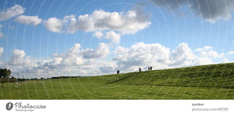 Human being Sky Sun Green Blue Clouds Far-off places Meadow Grass Horizon River Sheep Brook Plant Sunday Dike