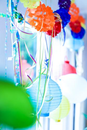 Blue Feasts & Celebrations Party Moody Pink Orange Birthday Decoration Kitsch Lampion Paper chain Party mood Tinsel Party space