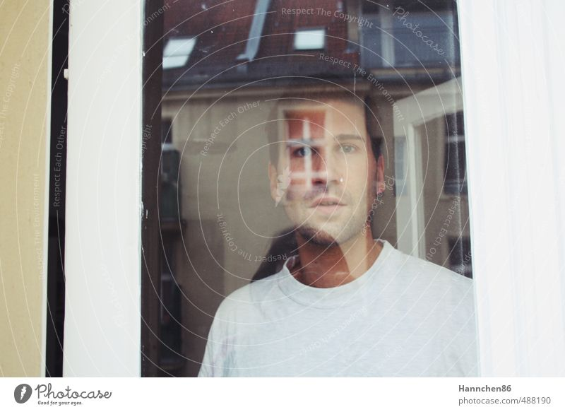 At the window Human being Masculine Young man Youth (Young adults) Life Head 1 18 - 30 years Adults Downtown House (Residential Structure) Architecture Facade
