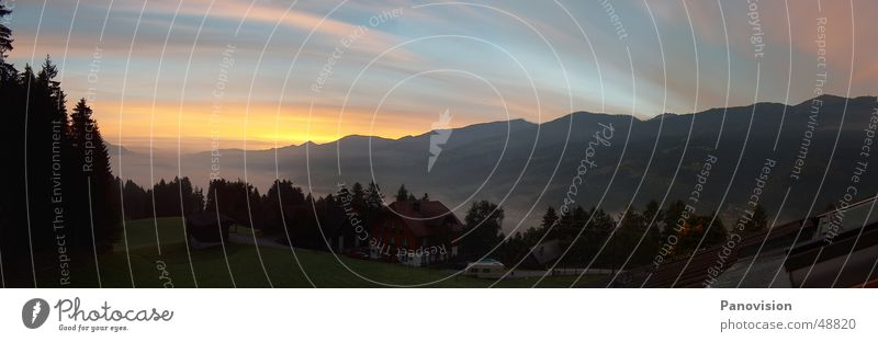 Summer Red House (Residential Structure) Vantage point Alps Dusk Valley Slope Summery Mountain range Summer evening Alpine hut Federal State of Styria Cloud formation Austria Veil of cloud