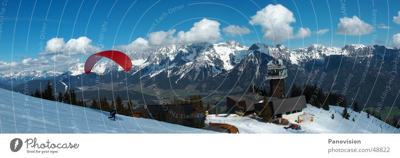 Red Clouds Mountain Snow Sports Action Vantage point Snowcapped peak Downward Snowscape Valley Slope Federal State of Styria Paragliding Paraglider Winter mood