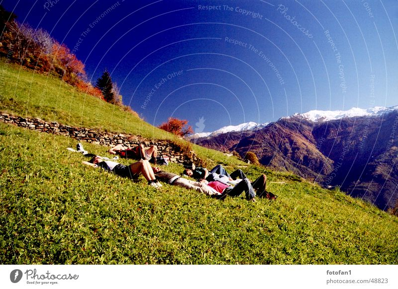 sich´s just let it go well Relaxation Sleep Sunbathing Meadow Autumn South Tyrol Woman Man Sugared Blue Force Intensive Analog Exterior shot Human being