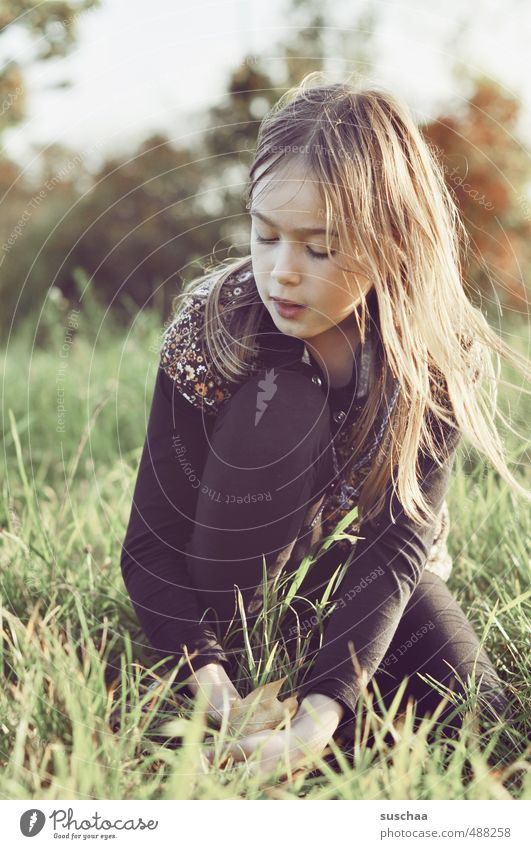 Human being Child Sky Nature Youth (Young adults) Young woman Girl Face Environment Eyes Meadow Feminine Autumn Grass Hair and hairstyles Head