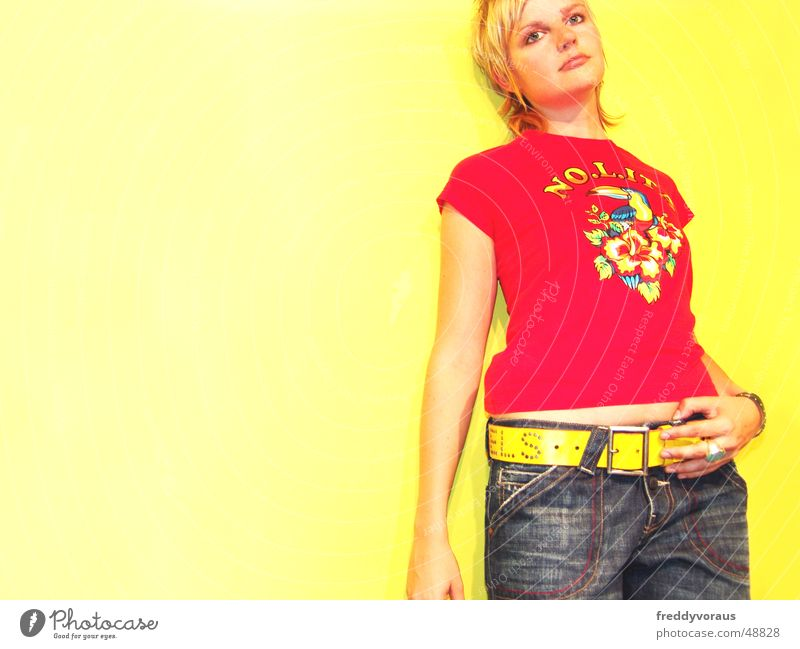 Woman Red Yellow Model Jeans T-shirt Belt