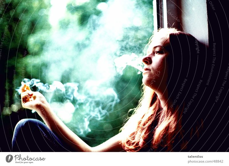 Woman Window Sadness Think Sit Grief Smoking Smoke Cigarette Window board