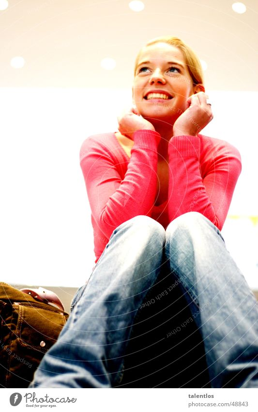 Woman Girl Laughter Blonde Pink Sit Happiness Jeans