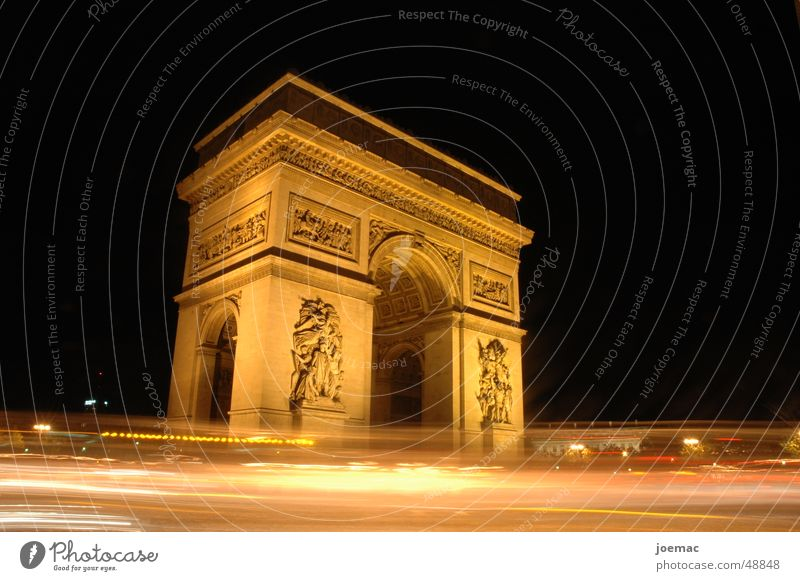 triumph @ night Long exposure Arc de Triomphe Paris Transport Historic Monument Night France tourists Lighting
