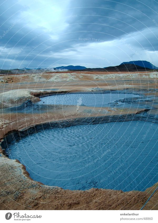 Iceland geothermal Sulphur Hot Source Hot springs Clouds Water Energy industry Blue