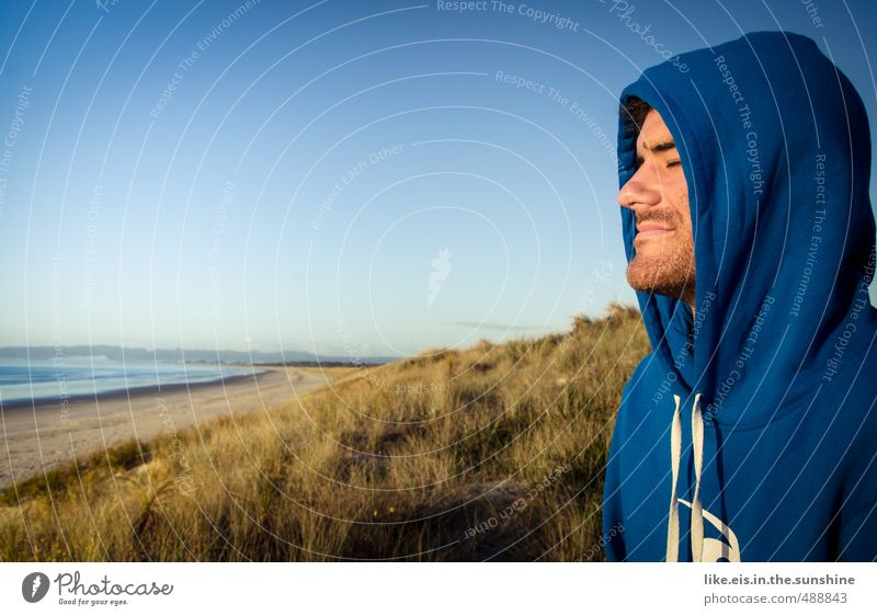 Nature Youth (Young adults) Vacation & Travel Man Summer Ocean Relaxation Landscape Calm Beach Far-off places Young man Face Adults Life Coast