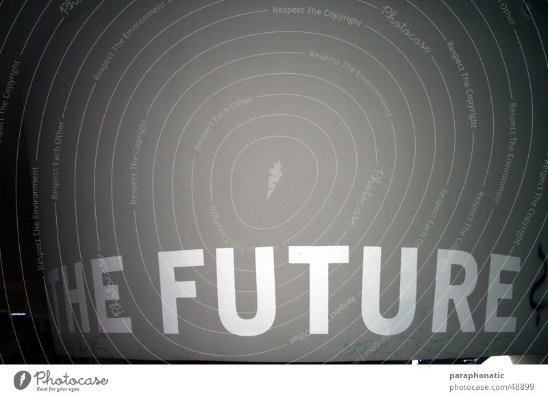 The Future? Gray Letters (alphabet) Art Bucket Distress Exterior shot Signs and labeling Stone Characters graffiti peaceful