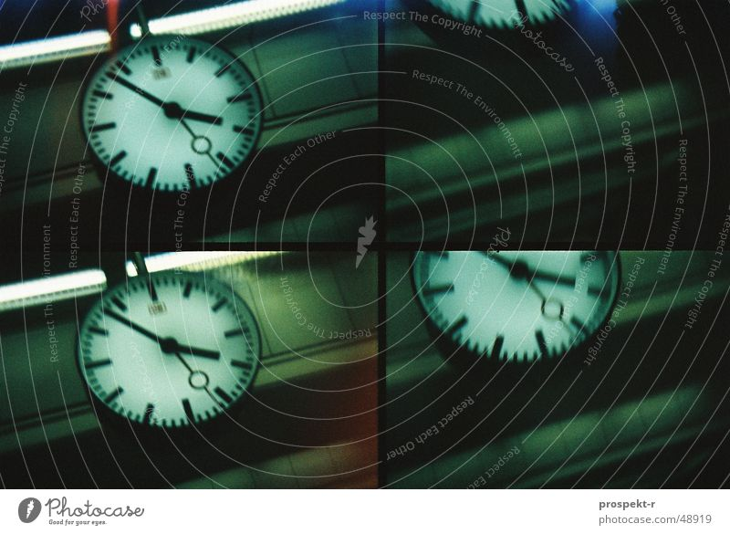 6 to 4 times 4 Clock Time Action Lomography Green Black Iron Style Train station Clock hand Blanket Railroad motion Movement