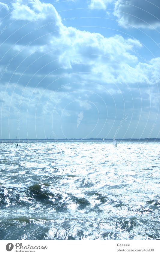 Sky Blue Water Beach Clouds Waves Sailing Surfer Wilhlemshaven South Beach