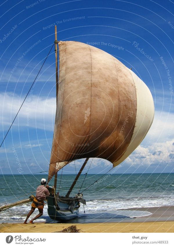 Sun Ocean Summer Beach Vacation & Travel Life Freedom Watercraft Wind Perspective Hope Asia Human being Sail Fisherman Nonconformist