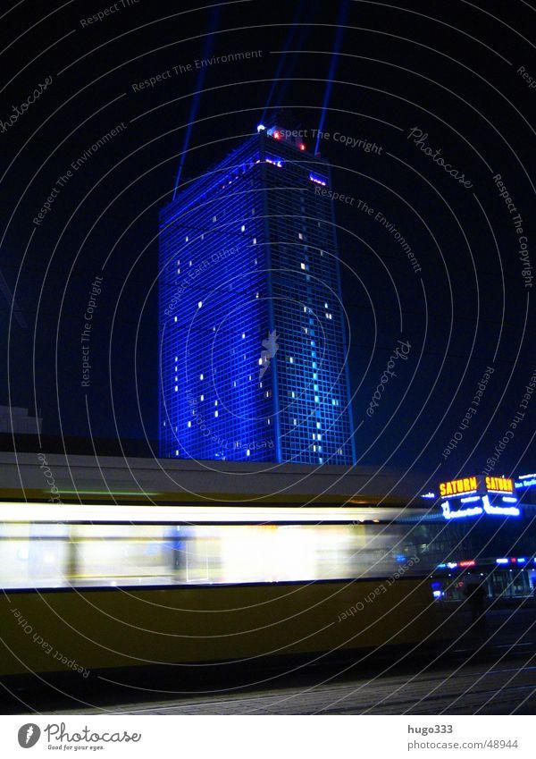 Attention, one lane! 2 Alexanderplatz Light Illumination Night sky Tram Speed Long exposure Transport Night shot Public transit Customer Pedestrian precinct