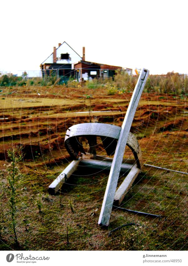 final Crouch To break (something) Broken House (Residential Structure) Dismantling Construction site Rip Scrap metal Dirty Gray Brown Green Sculpture Chair Sit