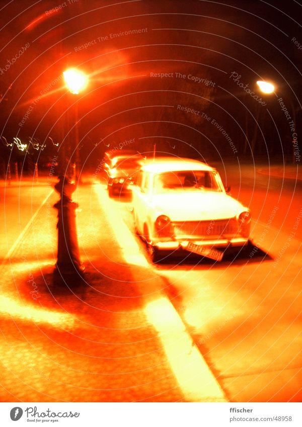 Old White Red Yellow Street Lamp Car Orange Metal Broken Lantern Wheel Sidewalk GDR Traffic light East