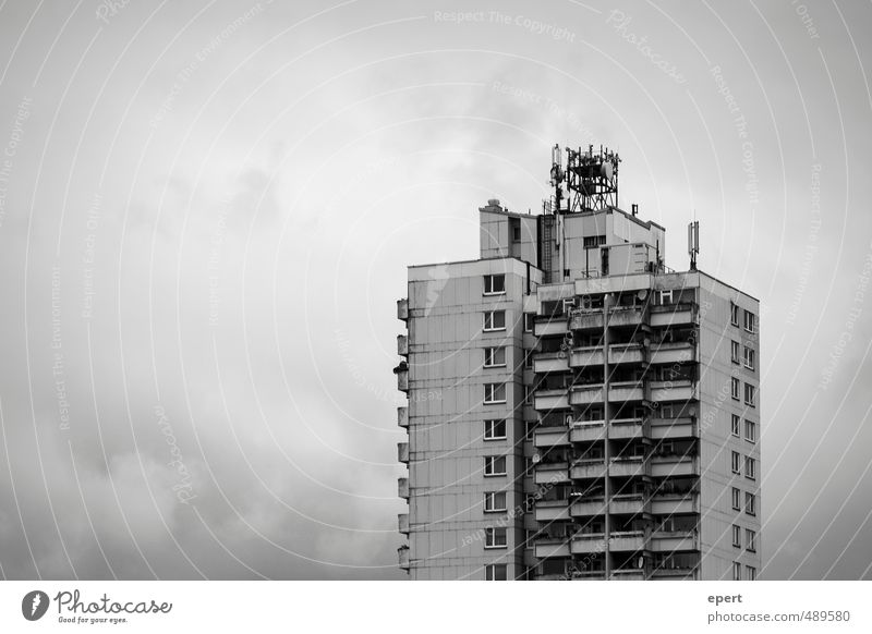 Social Network II Living or residing Culture House (Residential Structure) High-rise Facade Balcony Dark Sharp-edged Large Tall Gloomy Town Society Equal