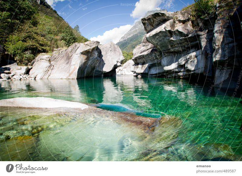 verzasca green Nature Landscape Water Sky Summer Rock Alps Canyon River Tall Cold Green Vacation & Travel Valley Verzasca Valley Granite Switzerland