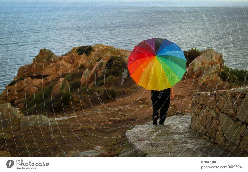 Human being Woman Nature Man Vacation & Travel Colour Ocean Relaxation Landscape Joy Adults Lanes & trails Coast Legs Rock Rain
