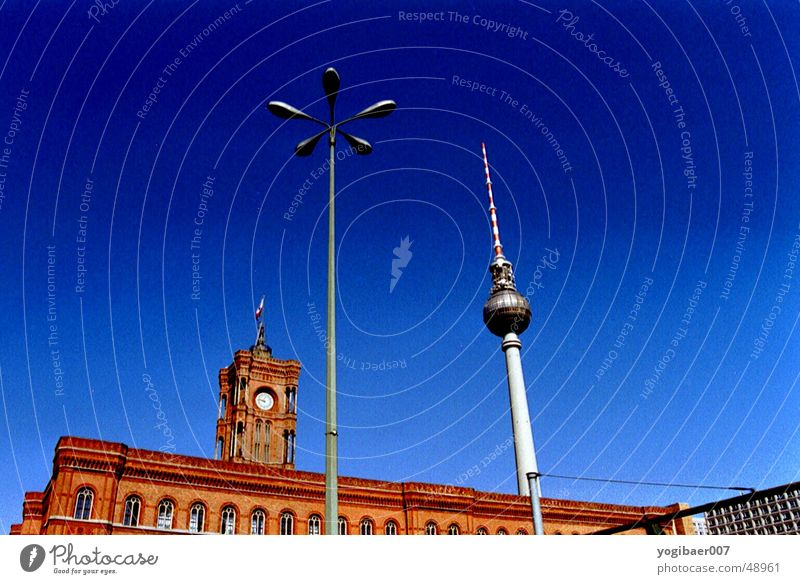 Sky Blue Red Berlin Television Tower Lantern Berlin TV Tower City hall