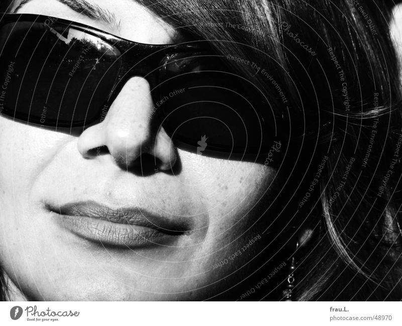 Woman Beautiful Sun Summer Face Feminine Style Laughter Mouth Elegant Eyeglasses Lips Sunglasses Grade (school level) Attractive Self-confident