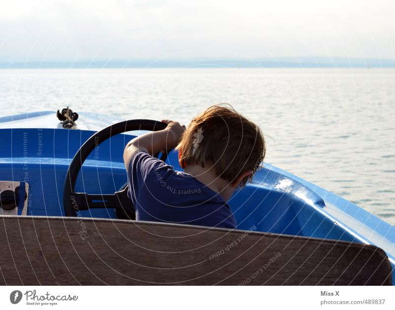 at the wheel Leisure and hobbies Vacation & Travel Trip Adventure Summer vacation Ocean Waves Human being Child Boy (child) Infancy 1 1 - 3 years Toddler