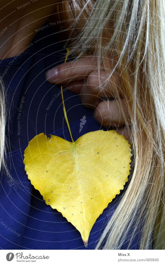 Heart to heart Human being Feminine Woman Adults Hair and hairstyles 1 Autumn Leaf Blonde Yellow Emotions Moody Love Infatuation Loyalty Romance Heart-shaped