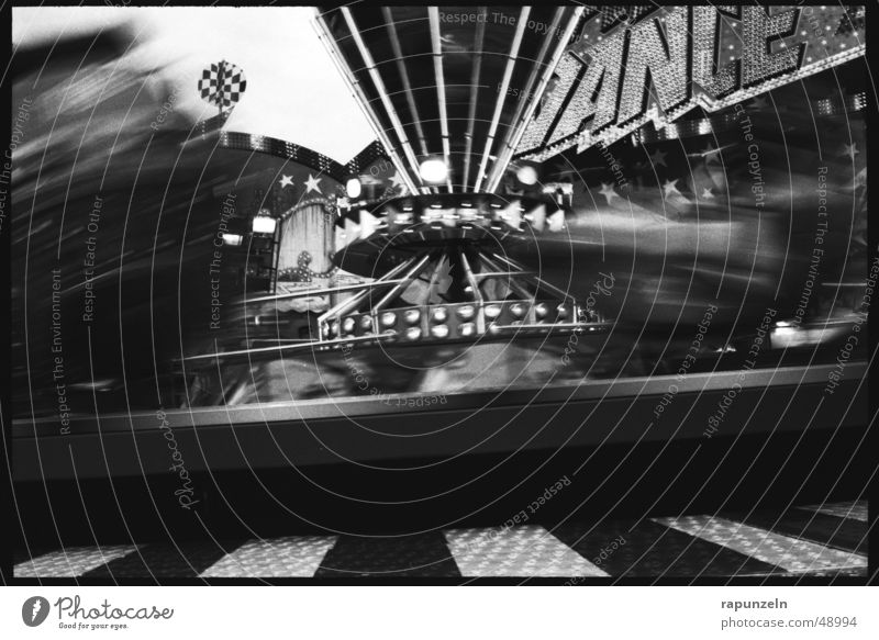mixer maximus Fairs & Carnivals Attraction Carousel Roller coaster Long exposure Rotation Speed Church service Black & white photo