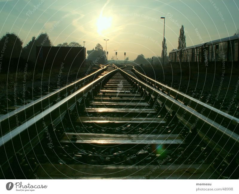 railway to sun Railroad tracks Light Direction Train station Sun Morning