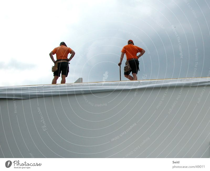 Sky House (Residential Structure) Wall (building) Wall (barrier) Orange Construction site Story Working man Montage