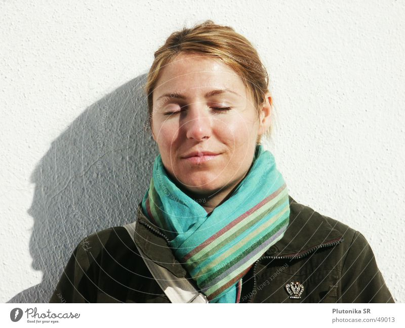 White Calm Relaxation Autumn Wall (building) Wall (barrier) Blonde Closed To fall Stripe Jacket Turquoise Sunbathing Plaster Red-haired Scarf