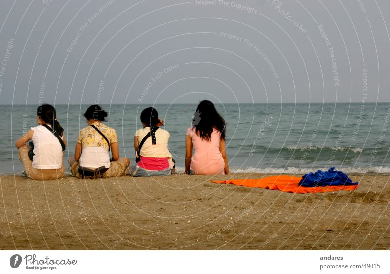 The Four at the Sea Ocean Beach Horizon 4 Romance Calm Girl Woman Couple Longing Expectation Think Vacation & Travel Sand Water Sky Back asian Partner