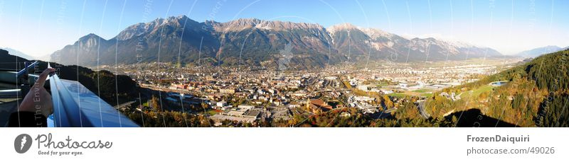 Innsbruck North Panorama Federal State of Tyrol Panorama (View) Town Roof Fingers Hand Coniferous trees Highway Modern Metal Sky Mountain bergisel tyrol