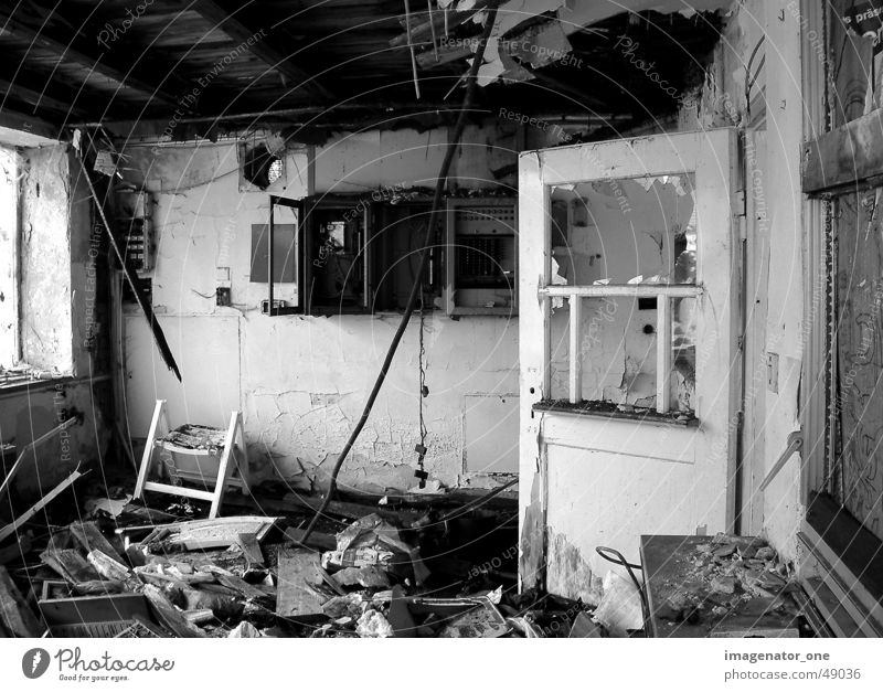 0009 Broken Flat (apartment) Black & white photo Door Old Loneliness