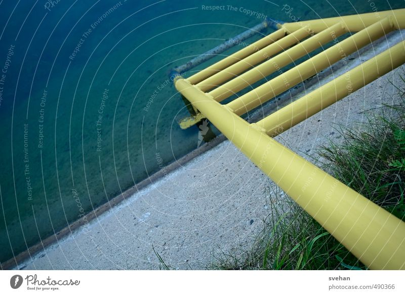 Into the depth Ladder Water Harbour Blue Yellow Gray Green Metal Channel Escarpment Diagonal Downward The deep Bank reinforcement Concrete wall Rung