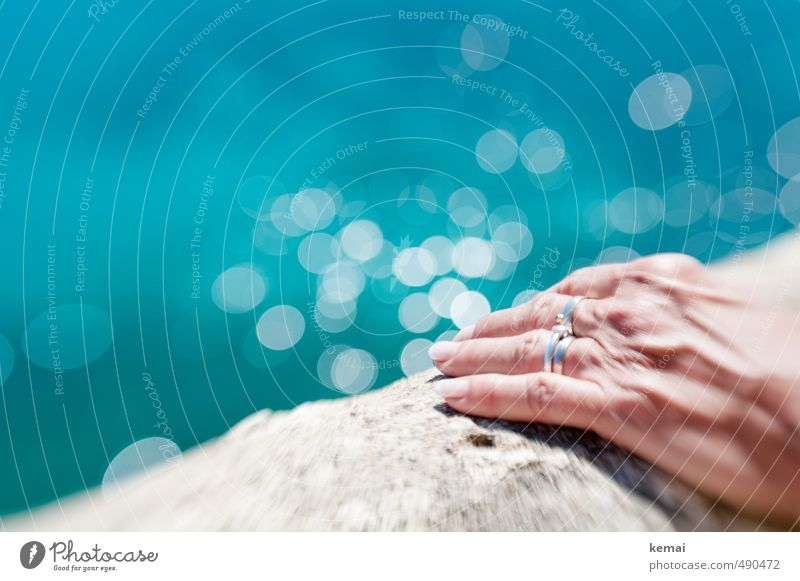 Wall search stop Feminine Senior citizen Life Hand Fingers Fingernail 60 years and older Water Summer Beautiful weather Warmth Ocean Wall (barrier)