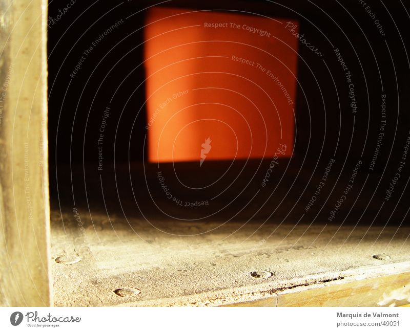 glimpse Red Light Rectangle Square Iron Tin Cast iron Rust Dark Shaft Opening Dust Industrial Photography Shadow Frame Box Wood strip screw Derelict