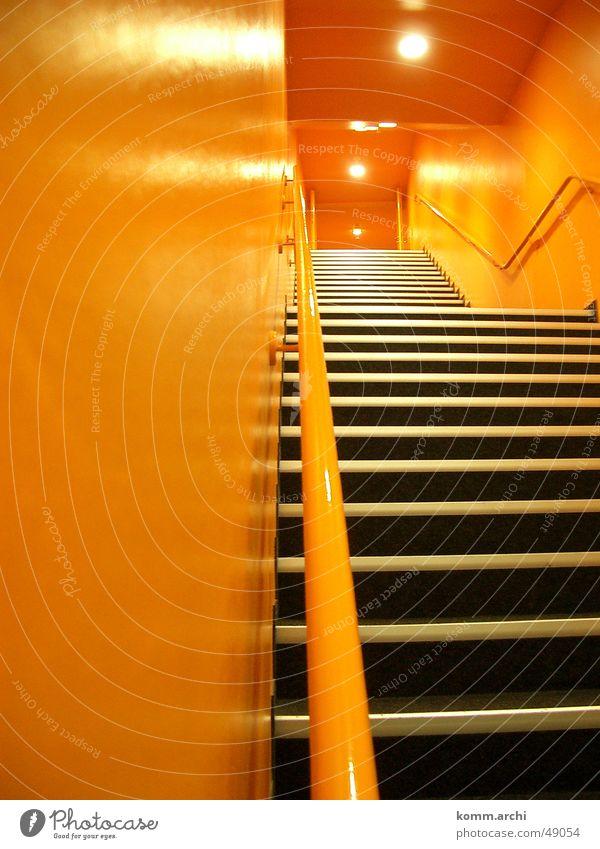 stairwell Light Stadium Orange Stairs Moody Corridor