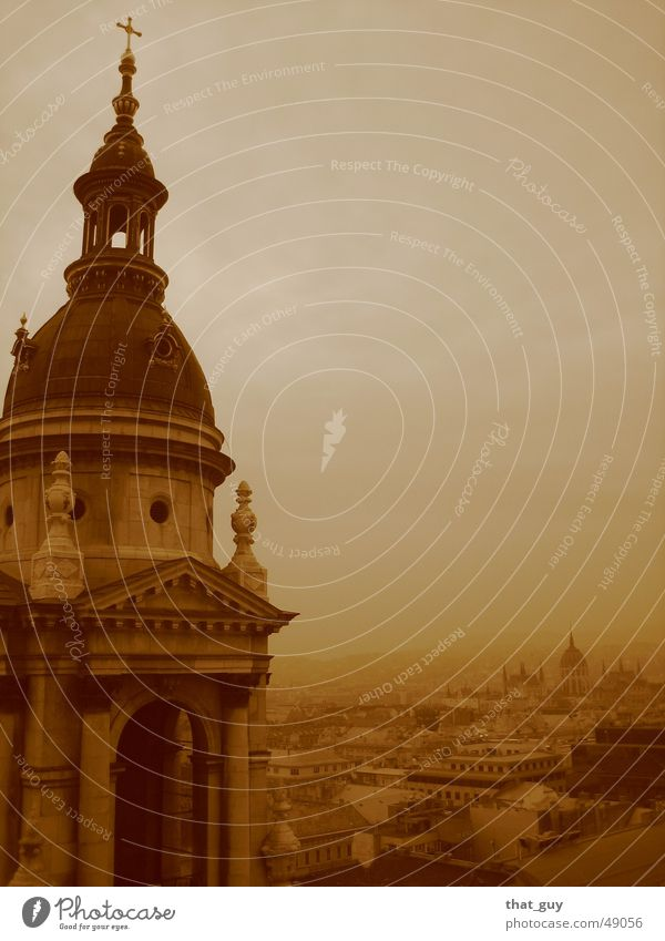 Sunken in the distance Fog Town Panorama (View) Budapest Far-off places Religion and faith Back Freedom last moment Large