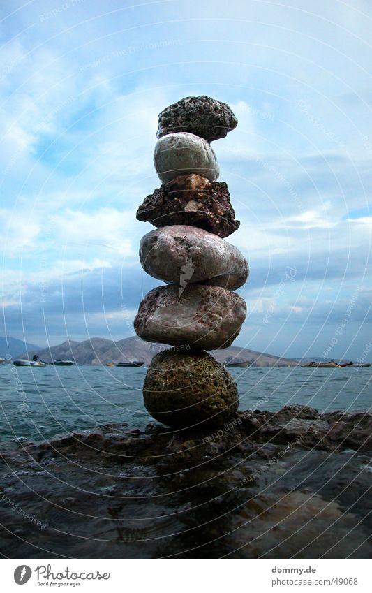 art?! Art Round Sharp-edged Ocean Croatia Baška Fluid Shaky Stone Stack pile Water Adriatic Sea Island Tall