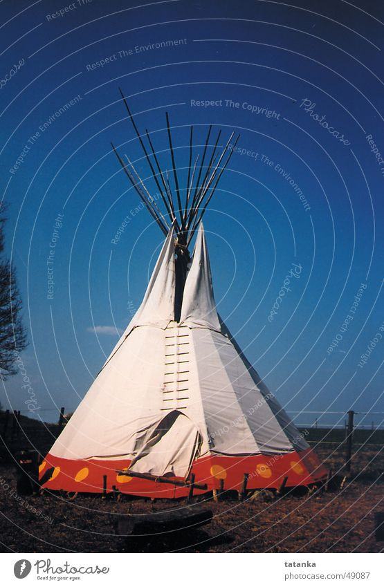 Nature Sky Blue Far-off places Native Americans Living or residing Tent Tee Pee Pointed roof tent Nomad tent