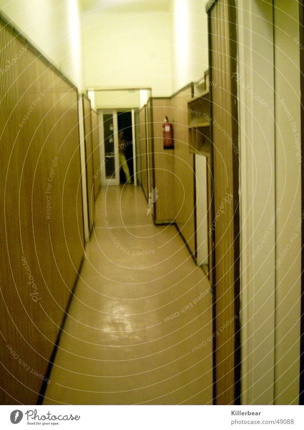 retro hallway Narrow Brown White Yellow Hallway Long Gloomy Grief Interior shot Hungarian földvar Sadness Boredom Old Bright Corridor